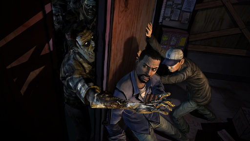 Holding back a zombie horde in The Walking Dead, A Telltale Games Series.