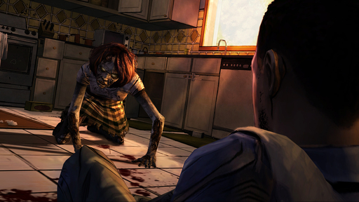 A hungry walker attacks in The Walking Dead, A Telltale Games Series.