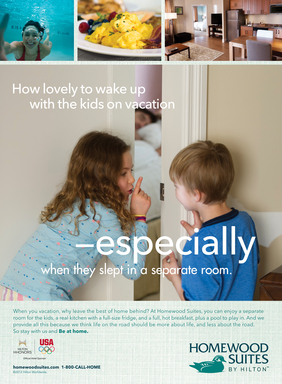 Homewood Suites family and leisure travel print advertisement