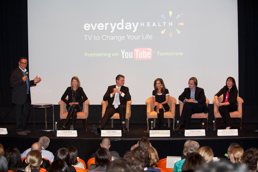 Joy Bauer, Everyday Health + You Tube executives premiered their original channel last night to a packed screening room in NYC. YouTube.com/EverydayHealth launched today.  Michael Kassan, Laura Klein, Paul Slavin, Joy Bauer, Mark Koops, Terry Hurlbutt