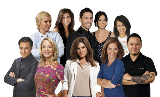 Everyday Health Talent Clockwise: Daniel Green, Jill Davie, Amanda Russell, Ethan Zohn, Jenna Morasca, Mareya Ibrahim, Jet Tila, Joy Bauer, Jillian Michaels, Dr. Laura Berman