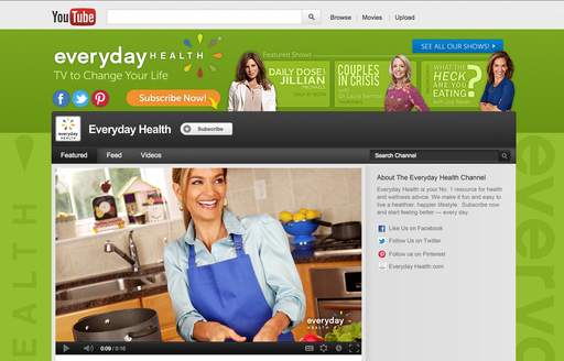 Extending its dominance as digital media's leading health and wellness brand for consumers, Everyday Health launched a new original video channel — Everyday Health: TV to Change Your Life — on YouTube.