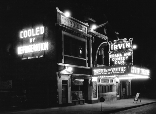 Carrier's comfort air for movie theaters spread rapidly. At the Irvin Theatre in Illinois, the musical film received second billing to the theatre's modern air conditioning.