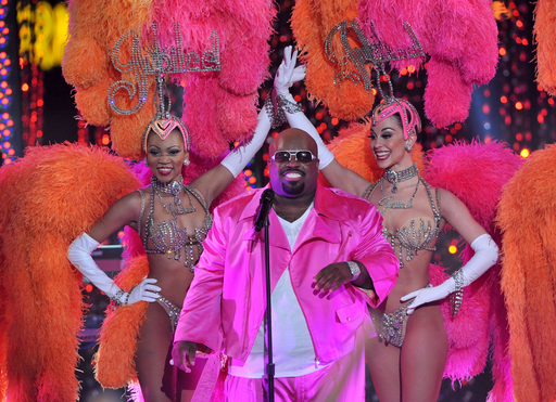 Singer Cee Lo Green and the Jubilee Girls perform onstage at Escape to Total Rewards at at Hollywood & Highland Center on March 1, 2012 in Hollywood, California. (Photo by Mark Davis/Getty Images for Caesars Entertainment)