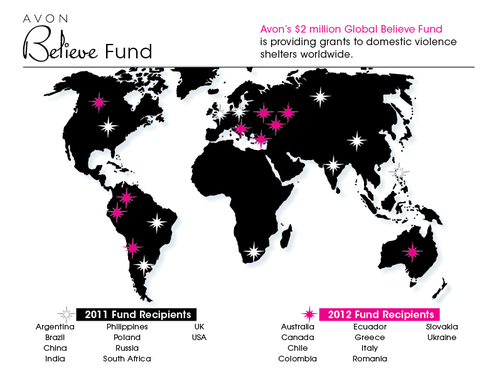 Avon's $2 million Global Believe Fund is providing grants to domestic violence shelters worldwide.