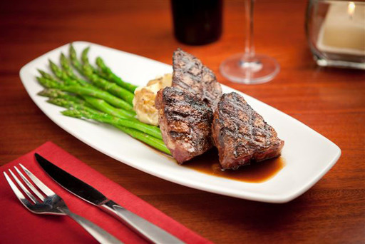 Lamb T-Bone Chops with asparagus, truffle mashed potatoes & red wine glaze