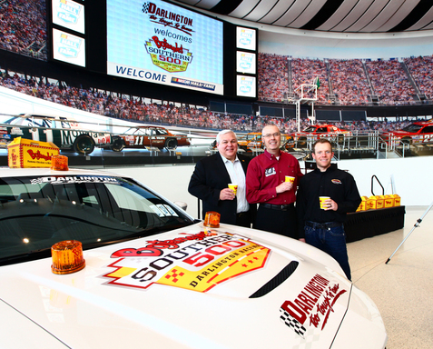 (L to R) Bojangles' Randy Kibler, Darlington Raceway's Chris Browning and NASCAR driver Regan Smith announce the new Bojangles' Southern 500 at Darlington Raceway.
