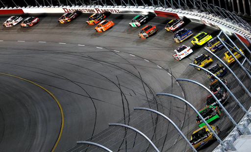 Drivers make their way around the turn at the Southern 500 at Darlington Raceway