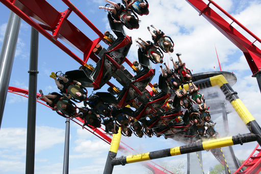 Nearly 3,000 feet of twisted steel with 5 inversions, including a zero-g roll, in-line roll and barrel roll.