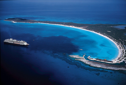 The beautiful water and beach of Holland America Line's private island, the award winning Half Moon Cay.