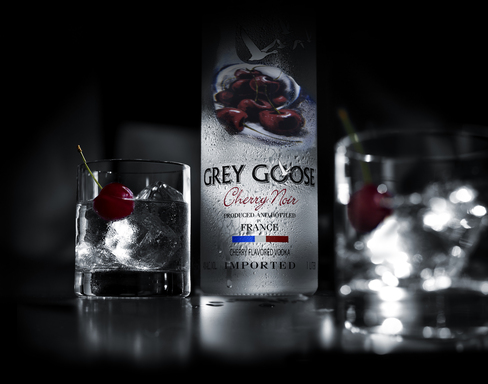 Cherry Noir on the Rocks - Served simply, the unadulterated essence of ripe, handpicked cherries in GREY GOOSE Cherry Noir seduces the senses, offering dark, delicious flavor.
