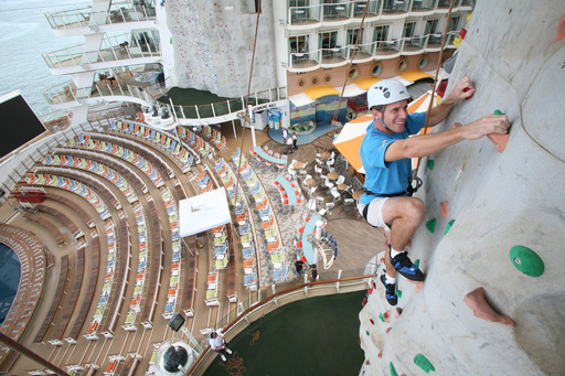 Climbing to new heights on Royal Caribbean's rock wall offers guests a unique perspective.