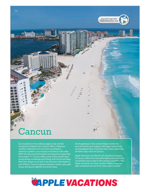 Now there's even more information packed in Apple Vacations annual winter sun catalogs. Use the Apple Vacations Interactive app to scan this page and learn more about the destination.