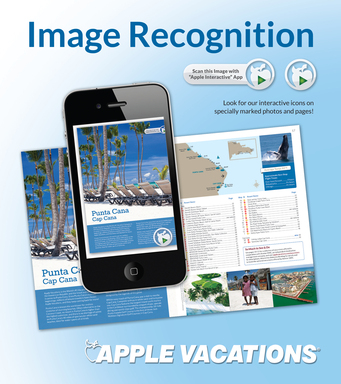 Now there's even more information packed in Apple Vacations annual winter sun catalogs. Look for specially marked catalog pages, scan and get more information about your destination or resort.