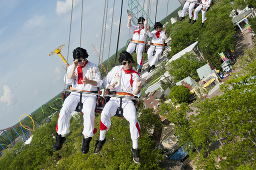 Flying Elvises soar on Six Flags Great Adventure's SkyScreamer