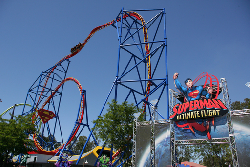 Six Flags Discovery Kingdom in Vallejo, CA opens the new SUPERMAN Ultimate Flight. This one-of-a-kind launch coaster features the tallest inversion west of the Mississippi at 15 stories tall.