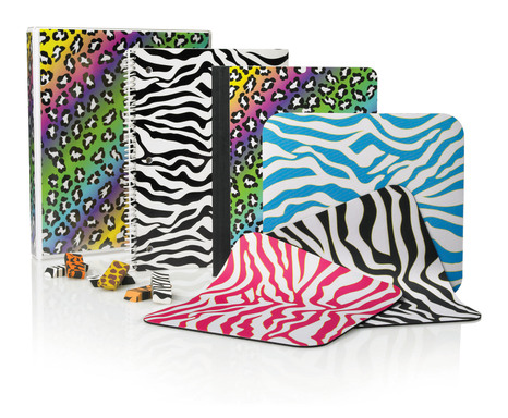 "Wild Side: These zebra, leopard & rainbow animal prints are ideal for students who like ""wild"" designs on their binders, notebooks, erasers and mouse pads. Available exclusively at OfficeMax."
