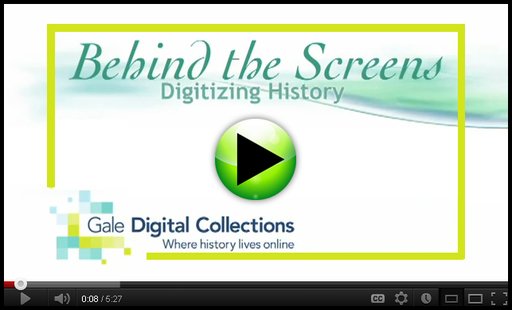 Behind the Screens: Digitizing History - A brief video on Gale's partnership with The National Archives, Kew and the conservation and preservation efforts behind Nineteenth Century Collections Online.