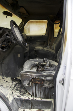 The inside of a cargo van after a recalled part failed and set it on fire. In 2011, more than 2.7M cars with unfixed safety recalls were for sale online.