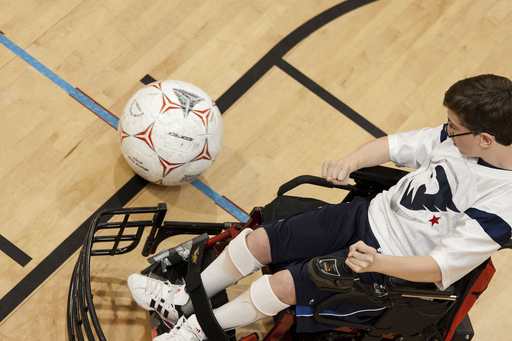 One of the Power Soccer players during a game