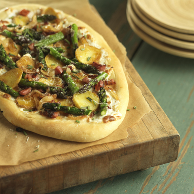This California Asparagus Potato Pizza is versatile and veggie-packed. It can be served as an entrée or tasty appetizer, and it features California Grown Asparagus
