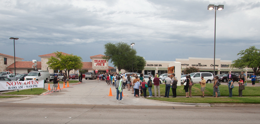 Hundreds wait outside for the grand opening of the Fort Worth Trader Joe's.  Trader Joe's opened their first two stores in Texas on Friday, June 15, 2012 – One in The Woodlands and the other in Fort Worth. Photo Credit - Trader Joe's Copyright  2012
