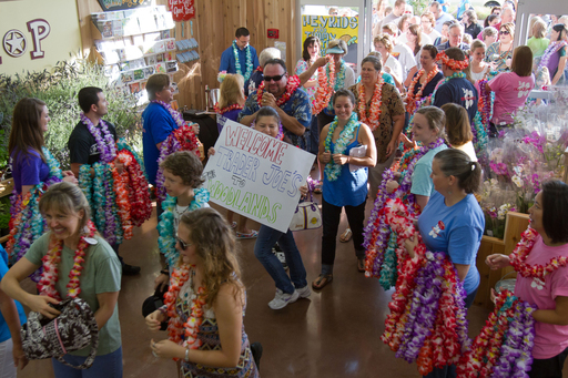 Several hundred people wait outside for the grand opening of The Woodlands Trader Joe's and enter for the first time.   Trader Joe's Copyright 2012