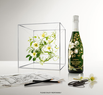 Floral bottle and box by Daniel Jouanneau