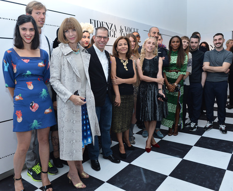 Anna Wintour, American Vogue; Franca Sozzani, Vogue Italia; Jonathan Newhouse,Conde Nast International and Desirée Bollier, Value Retail with the young designers from Vogue Talents 2012