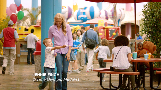 Jennie Finch, Olympic gold-medalist and super mom, filming the television ad for Chobani Champions with her son Ace.