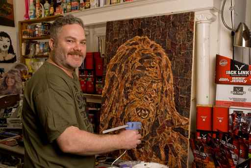 Mosaic artist Jason Mecier captured in his studio while creating unique artwork made entirely of Jack Link's Jerky in honor of National Jerky Day