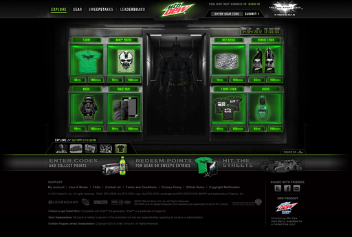 "Fans who chug specially marked Mountain Dew and enter the on-pack codes at DEWGothamCity.com can redeem points for exclusive DEW ""The Dark Knight Rises"" gear, like G-shock Watches"