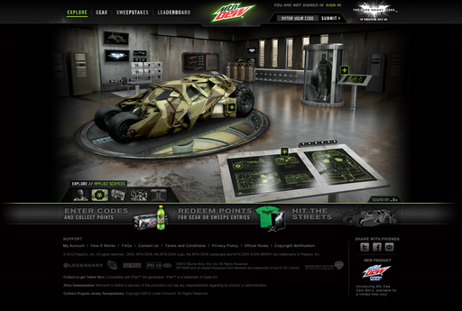 "Mountain Dew gives a deeper look at ""The Dark Knight Rises"" content, including the iconic Tumbler and Bat-Suit in the Applied Sciences lab on DEWGothamCity.com"