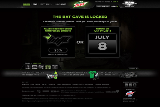 The DEWGothamCity.com Bat Cave will remain locked until July 8, unless DEW and Dark Knight fans work together to redeem five million Mountain Dew product codes