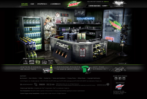 The Gotham City Convenience Store on DEWGothamCity.com lets users pick up a virtual issue of the Gotham Observer to read up on the latest headlines from every corner of Gotham City
