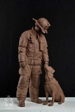 Clay sculpture of the National Fire Dog Monument before the bronzing process begins