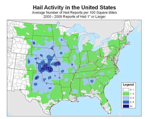 United States 10 Year Hail Activity