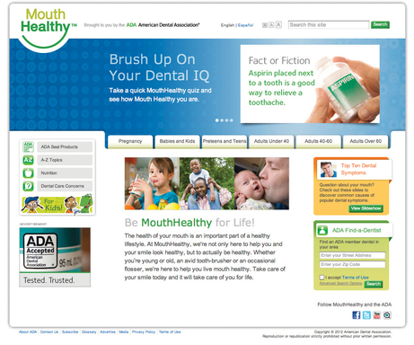 Welcome to MouthHealthy, a new website created by the American Dental Association just for you. http://www.mouthhealthy.org/ cover page.