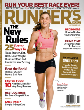 Lauren Fleshman, 5,000 meter U.S. Olympic contender, on the cover of the November 2011 issue of Runner's World.
