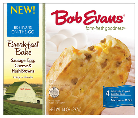 Bob Evans Sausage, Egg and Cheese Breakfast Bakes are made with our premium sausage. This complete meal-in-one is all mixed up and baked to perfection with Bob Evans signature hash browns.
