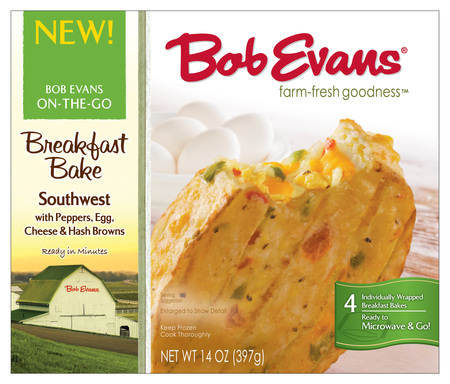 Bob Evans Southwest Breakfast Bakes are a meatless option with green and red bell peppers, egg and cheese. Each Breakfast Bake is individually wrapped for a convenient breakfast or snack on-the-go.