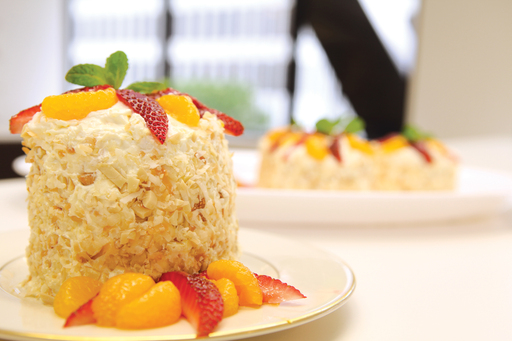 Del Monte Crown the Cook Champion Carmell Childs' winning dish, Mandarin Tin-Can Tower Cake