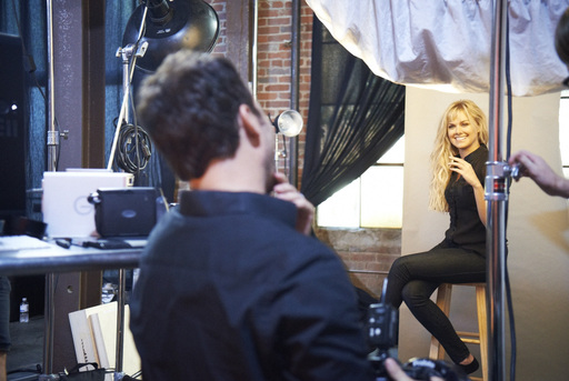 Celebrity photographer Jeremy Cowart behind the scenes on a photo shoot with country singer and Broadway star Laura Bell Bundy.