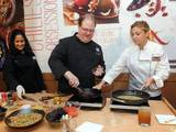 "Donatella Arpaia, head judge on ""Iron Chef America"", joins McCormick Executive Chef Kevan Vetter, to prepare a spicy Pepita & Chile Salsa, inspired by the McCormick Flavor Forecast 2014 at the launch of McCormick's 125th anniversary, on Dec. 3."