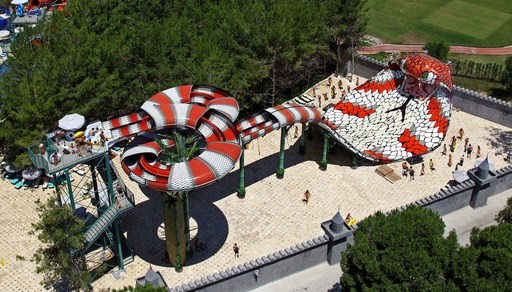 King Cobra, now open at Six Flags Hurricane Harbor in New Jersey, is the first slide of its kind in America.
