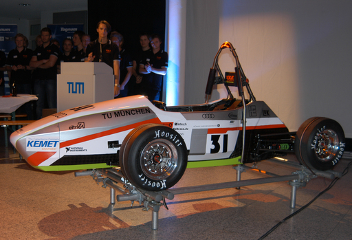 The 2012 TUfast electric race car, sponsored by KEMET and on display at Electronica 2012