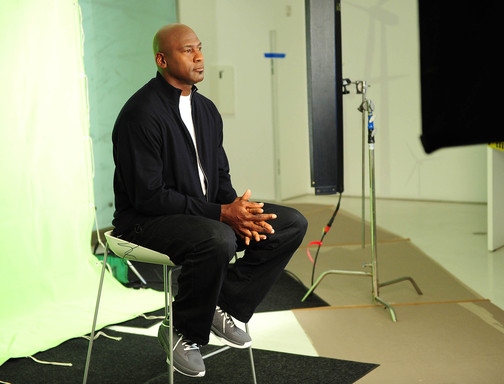 Michael Jordan on the set of the new Hanes ComfortBlend commercial to launch their softest-ever undershirts