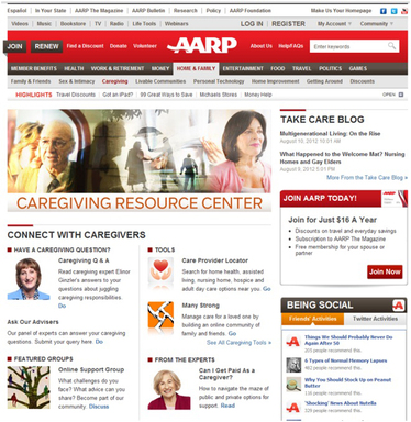 AARP Web Screenshot 1