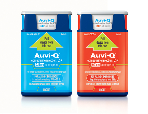 Now approved for patients at risk for life-threatening allergic reactions, Auvi-Q™ is the size and shape of a credit card, the thickness of a cell phone and fits comfortably in a pocket or small purse.