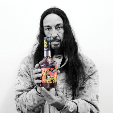 Legendary street artist, Futura with the Hennessy V.S. limited edition bottle he designed